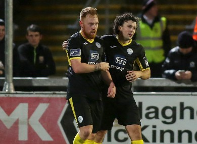 Finn Harps' Ryan Connolly celebrates his goal with Barry McNamee.