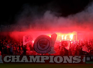 Sligo Rovers supporters celebrate their first league title in 35 years.
