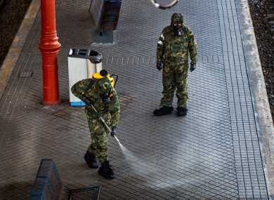 The Spanish army carries out disinfection work at the San Sebastian train station