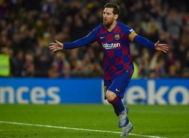 Messi celebrates his winning goal tonight.
