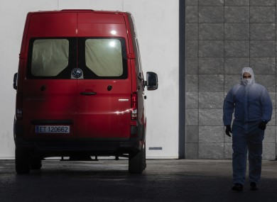A spanish UME (Emergency Army Unit) soldier walks out of Madrid's ice rink.
