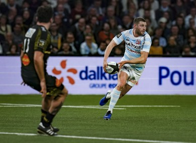 Finn Russell in possession for Racing 92 during their 49-0 win against La Rochelle in the Top 14.