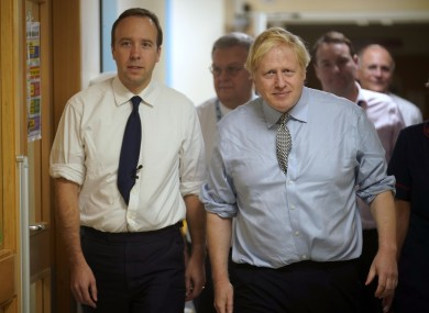 File image: Boris Johnson and UK Health Minister Matt Hancock visiting Bassetlaw District General Hospital in November while on the campaign trail.