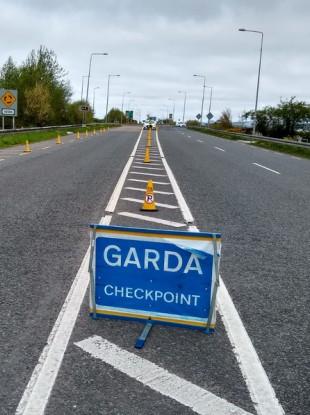 A garda Covid-19 checkpoint. (File photo)