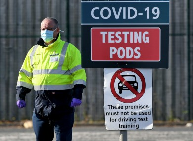 An MOT testing centre in Belfast being used as a drive-thru coronavirus testing centre.