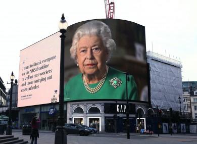 A billboard of Queen Elizabeth II.