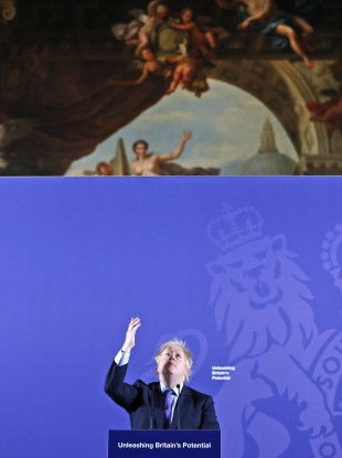Boris Johnson delivers his 'Unleashing Britain's Potential' speech in the Painted Hall, Old Royal Naval College Greenwich (3 February 2020).
