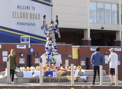 Fans outside Elland Road after former Leeds defender Norman Hunter passed away.