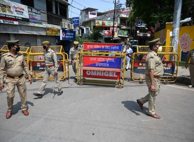 Police barricade hotspot area Telierganj during a government-imposed nationwide lockdown.