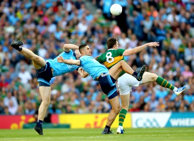 Dublin and Kerry players in action in last year's All-Ireland football final.