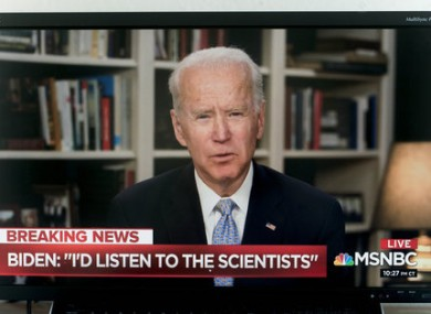 Joe Biden being interviewed last month.