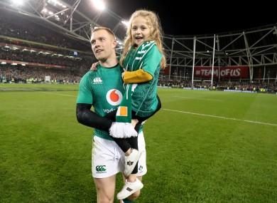 Earls with his daughter Ellie May after that famous win over New Zealand in 2018.
