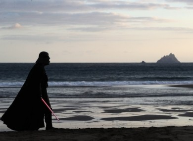 A fan dressed as Darth Vader on St. Finian's Bay, Kerry, overlooking the Skellig Islands during the May the 4th Festival in Portmagee last year.