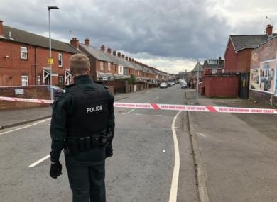Police at the Ardoyne estate on Saturday.