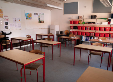 Classrooms of Stengaard School are prepared for the reopening of the school.