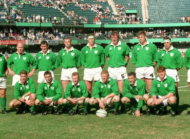 The Irish rugby team in the mid 1990s.