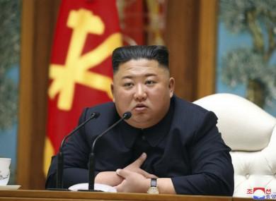 North Korean leader Kim Jong Un attends a politburo meeting on 11 April.