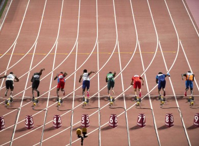 File photo: 100m sprinters get off the blocks at the 2019 Worlds.