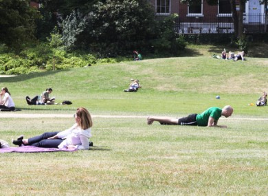 People in Merrion Square, Dublin yesterday.