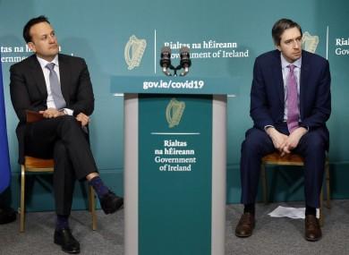 Taoiseach Leo Varadkar and Health Minister Simon Harris
