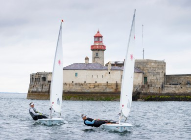 Annalise Murphy, left, and Aoife Hopkins on the water in Dun Laoghaire.