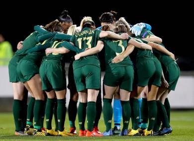 The Ireland team huddle before facing Greece.