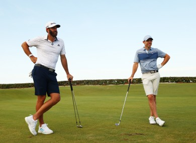 Dustin Johnson and Rory McIlroy at the event in Florida.
