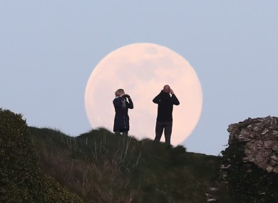 A supermoon rising above the Rock of Dunamase in Laois last month.