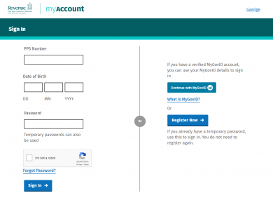 The log in page for Revenue's MyAccount