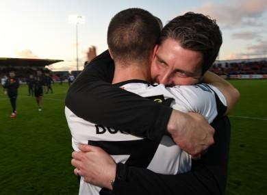 Ruaidhri Higgins celebrates with Dundalk's Michael Duffy after an FAI Cup semi-final win last season.