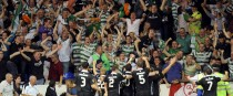 Shamrock Rovers players celebrate Stephen Rice's goal at White Hart Lane.