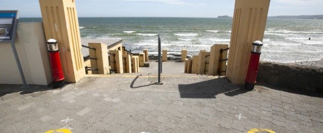 Social distancing markings at Portmarnock Beach, Dublin.