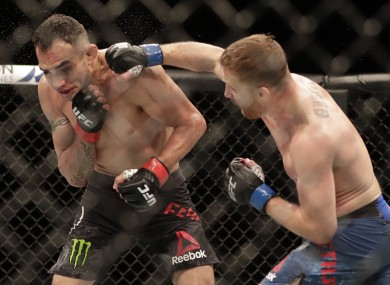 Justin Gaethje in action against Tony Ferguson at UFC 249.