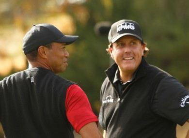 Tiger Woods and Phil Mickelson pictured at Shadow Creek Golf Course in Las Vegas in 2018.