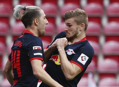 Leipzig's Timo Werner (right) celebrates scoring their fourth goal with Kevin Kampl.
