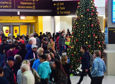 Passengers wait at Gatwick Airport in December 2018