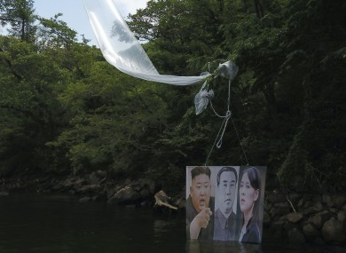 The leaflets decrying the North Korean regime are being sent by balloon from the South.
