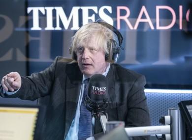 Boris Johnson speaking to Times Radio today.