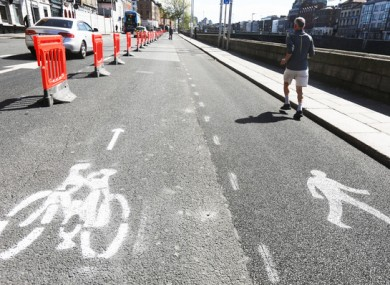 Pedestrian and cycle lanes along the North Quays in Dublin City Centre
