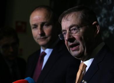 File photo of Éamon Ó Cuív (right) and Fianna Fáil leader Micheál Martin.
