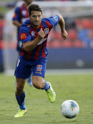 Wes Hoolahan playing for Newcastle Jets against Perth Glory back in February.