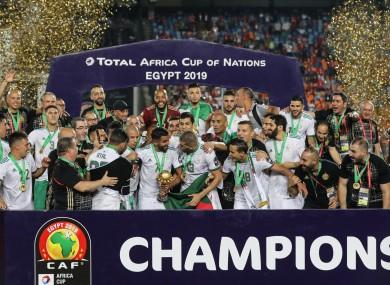 Algeria celebrate winning the title in 2019.