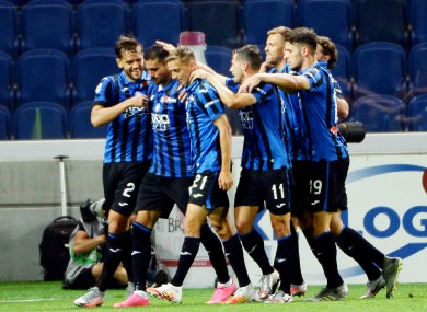 Atalanta players celebrate.