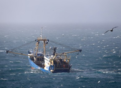 A fishing boat at work in the English Channel, after the UK left the European Union in January.