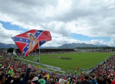 The flag flying at a Cork game in 2015.