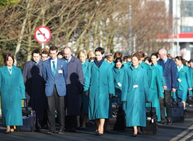 Aer Lingus staff in 2011 marching in Dublin Airport.