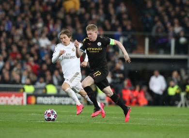 Kevin De Bruyne in action for City against Real earlier this season.