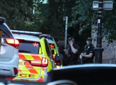 Police at the scene in Reading this evening