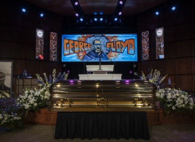 The casket of George Floyd before a memorial service at North Central University in Minneapolis