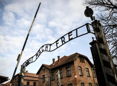 The entrance to the Auschwitz camp.